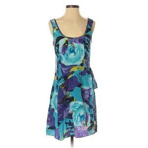 Trina Turk Blue Floral Tropical Print Silk Dress